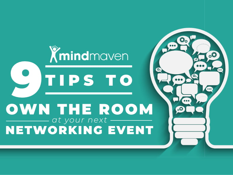 9 Networking Event Tips Featured Image Lightbulb Filled With Conversational Bubble on green background