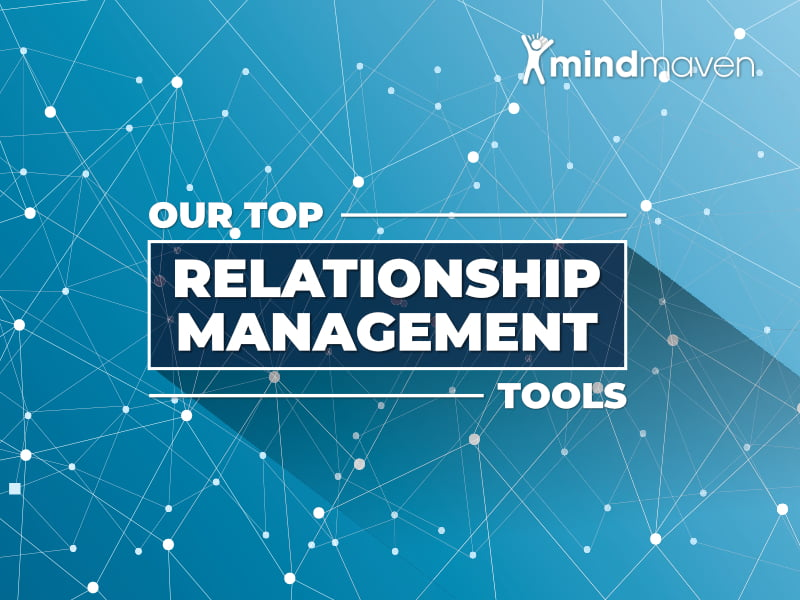 Our Top Relationship Management Tools Featured Image on Blue Background with White Connection Points