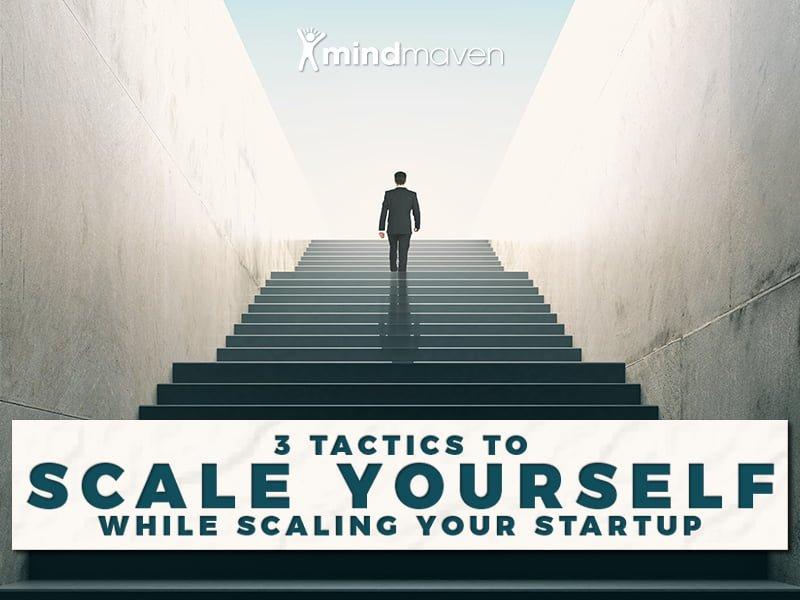 Entrepreneur ascending staircase
