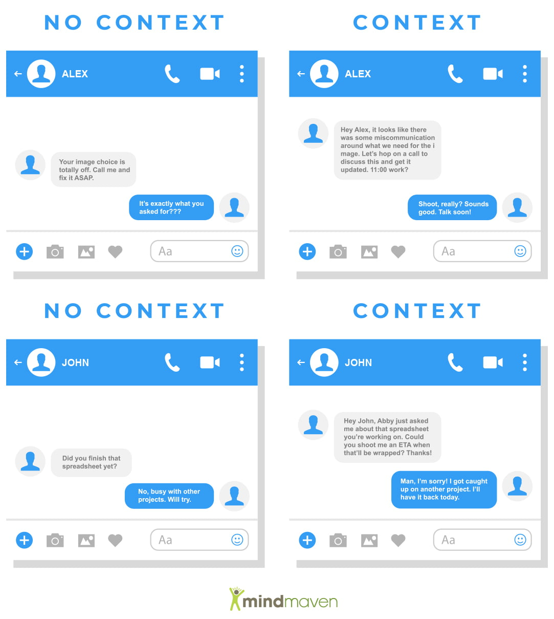 Slack messaging screenshots comparing use of context for discussion