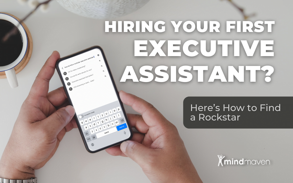 hands typing into phone a search for executive assistant