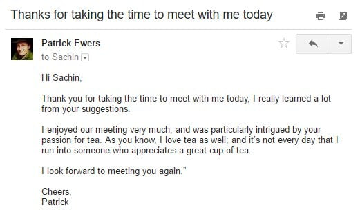 Follow Up Email After A Meeting